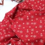 Ткань для печворка и рукоделия Снежинки на красном