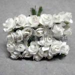 Бумажные цветочки. Мини розочки. Белые 1,5 см