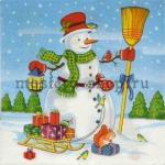 Салфетка Снеговик с метлой и санками