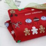 Ткань из коллекции Рождество в кружочках: Печеньки.Красная