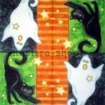 Салфетка Хэллоуин Кошка и Привидение