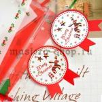 Бирки-наклейки Новогодние красные. 5 шт.