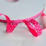 Репсовая лента Ярко-розовая - мелкие сердечки