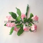 Бумажные цветочки. Мини бутоны роз. Бело-розовые 3 см