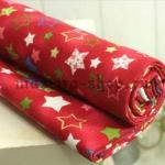 Ткань для печворка и рукоделия  Звезды и снежинки Красная