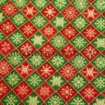 Ткань для печворка и рукоделия  Красно-зеленые квадратики