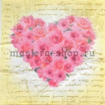Салфетка Сердце из роз на письме