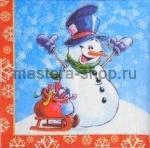 Салфетка Снеговик на горке