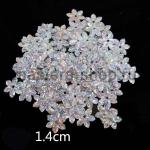 Пайетки цветок 14 мм голографик шестилепестковый Серебро - 80шт