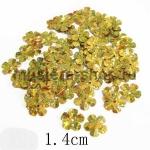 Пайетки цветок 14 мм голографик шестилепестковый Золотой гологра