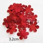 Пайетки цветок 32 мм голографик шестилепестковый Красный - 1ш