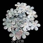 Пайетки цветок 32 мм голографик шестилепестковый Серебро - 1ш
