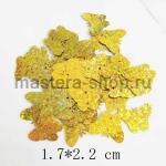 Пайетки бабочка 17*22 мм голографик Золото - 1шт