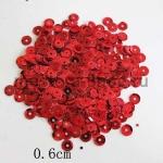 Пайетки круглые 6 мм Красные - 10 гр.