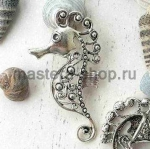 Серебрянная подвеска Морской конек большой