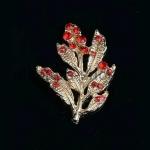 Серединка для бантика Веточка золото с красным 32*25мм 1 шт.