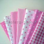 Набор тканей для пэчворка и рукоделия Розовые - 7 отрезов