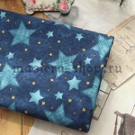 Ткань для печворка и рукоделия Джинсовые звезды