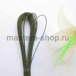 Проволока для цветов из капрона: 0,9мм (№20). Зеленая в пластике