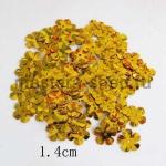 Пайетки цветок 14 мм пятилепестковый Золотой - 100шт.