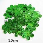 Пайетки цветок 32 мм голографик шестилепестковый Зеленый - 1шт