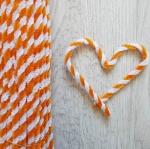 Проволока шенил (синель) двойная Оранжево-белая