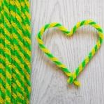 Проволока шенил (синель) двойная Зелено-желтая