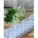 Ткань для печворка и рукоделия Голубой горох на белом фоне
