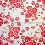 Салфетка Красные цветы на белом фоне