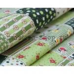 Ткань для печворка и рукоделия Зеленые квадраты