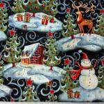 Ткань для печворка и рукоделия Новогодний лес