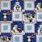 Ткань для печворка и рукоделия Квадратики с пингвинами
