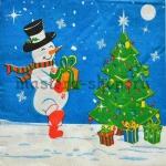Салфетка Снеговик с коробкой