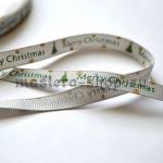 Репсовая лента Marry Christmas на серебрянном  фоне
