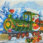 Салфетка Дед Мороз на паровозе