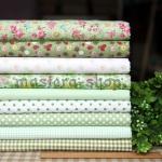 Набор тканей для пэчворка, рукоделия Зеленая свежесть-9 отрезов