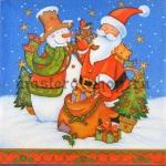 Салфетка Санта, снеговик, мешок с игрушками