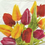Салфетка Красные и желтые тюльпаны