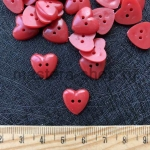 Пуговица пластиковая Сердечко красное