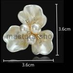 Серединка для бантика Трехлепестковый перламутровый цветок 1 шт.