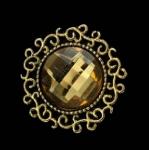 Серединка для бантика Круг страза в бронзе желтый  1 шт.