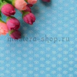 Фетр в цветочек. Голубой