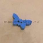 Пуговица деревянная Бабочка синяя