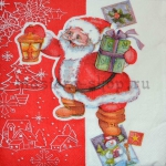 Салфетка Санта с фонарем
