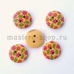 Пуговица деревянная Цветочная 6