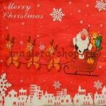 Салфетка Санта в санях с оленями