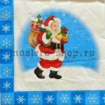 Салфетка Санта с голубой рамкой