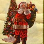 Салфетка Санта у елки