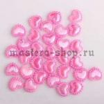 Сердечки с жемчужным краем 10 мм. 10 шт. Розовые