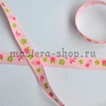 Репсовая лента Соски розовая